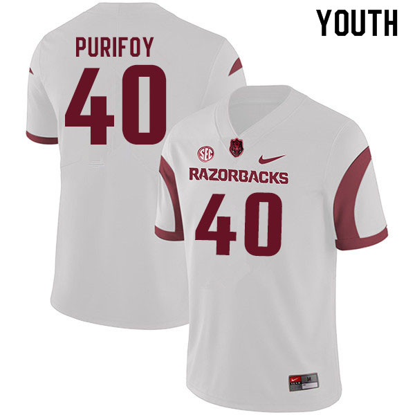 Youth #40 Trey Purifoy Arkansas Razorbacks College Football Jerseys Sale-White