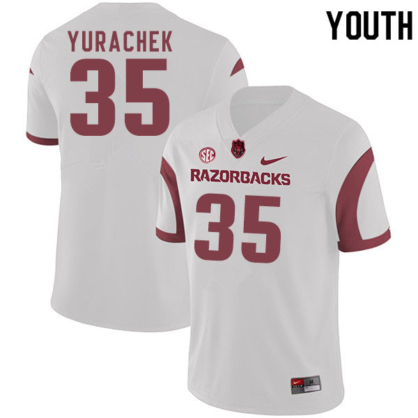 Youth #35 Jake Yurachek Arkansas Razorbacks College Football Jerseys Sale-White