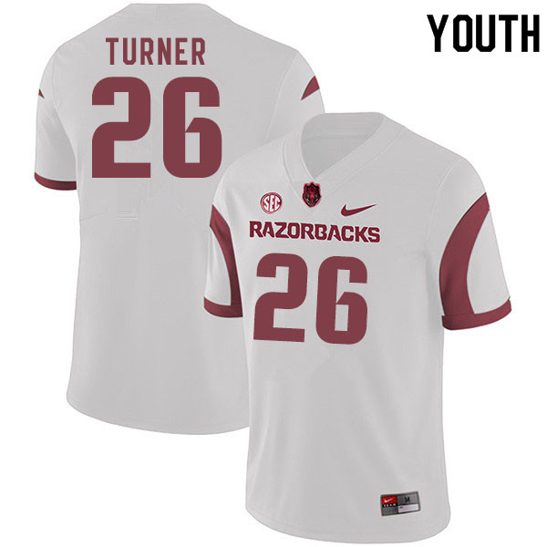 Youth #26 Reid Turner Arkansas Razorbacks College Football Jerseys Sale-White