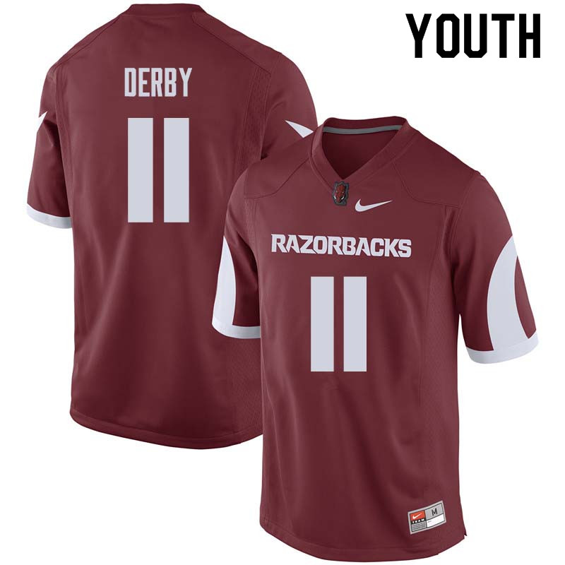 Youth #11 A.J. Derby Arkansas Razorback College Football Jerseys Sale-Cardinal