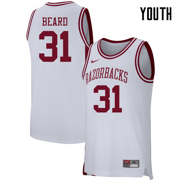 Youth #31 Anton Beard Arkansas Razorbacks College Basketball 39:39Jerseys Sale-White