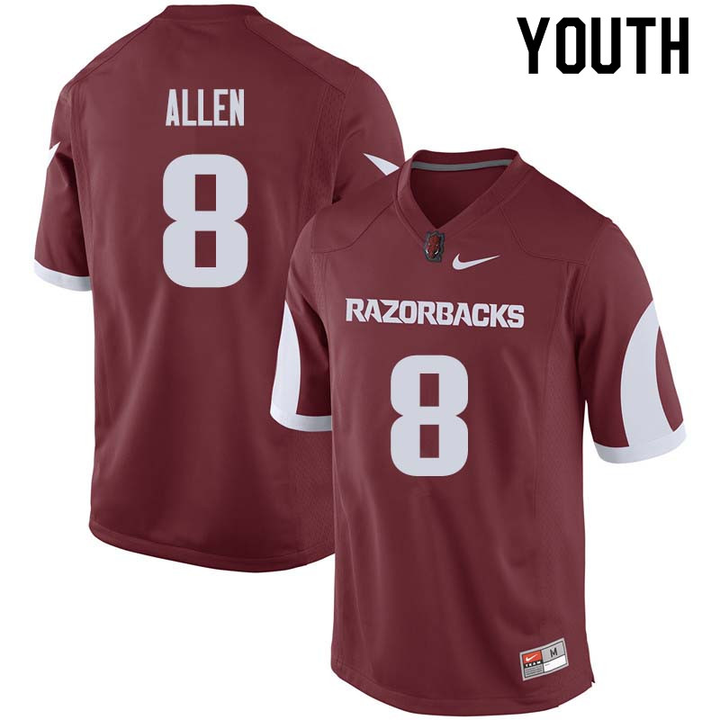 Youth #8 Austin Allen Arkansas Razorback College Football Jerseys Sale-Cardinal