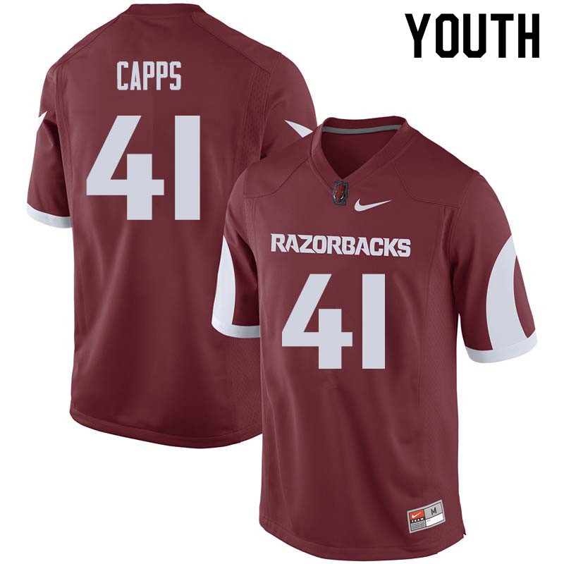 Youth #41 Austin Capps Arkansas Razorback College Football Jerseys Sale-Cardinal