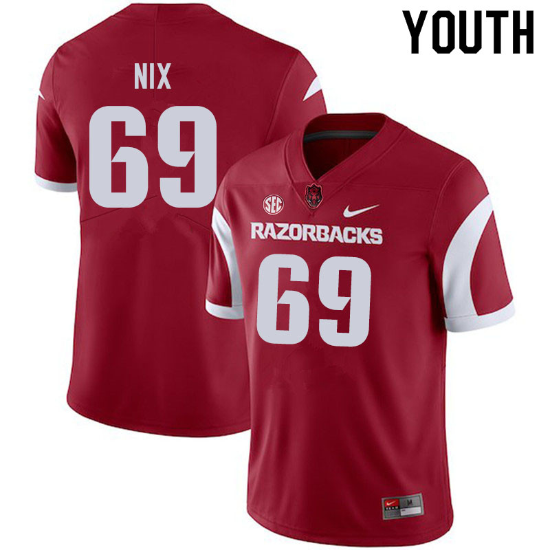 Youth #69 Austin Nix Arkansas Razorbacks College Football Jerseys Sale-Cardinal