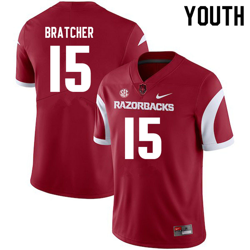 Youth #15 Braden Bratcher Arkansas Razorbacks College Football Jerseys Sale-Cardinal