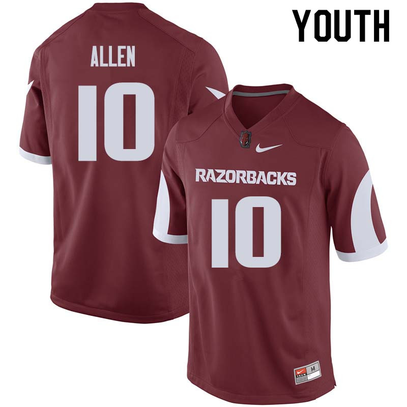 Youth #10 Brandon Allen Arkansas Razorback College Football Jerseys Sale-Cardinal