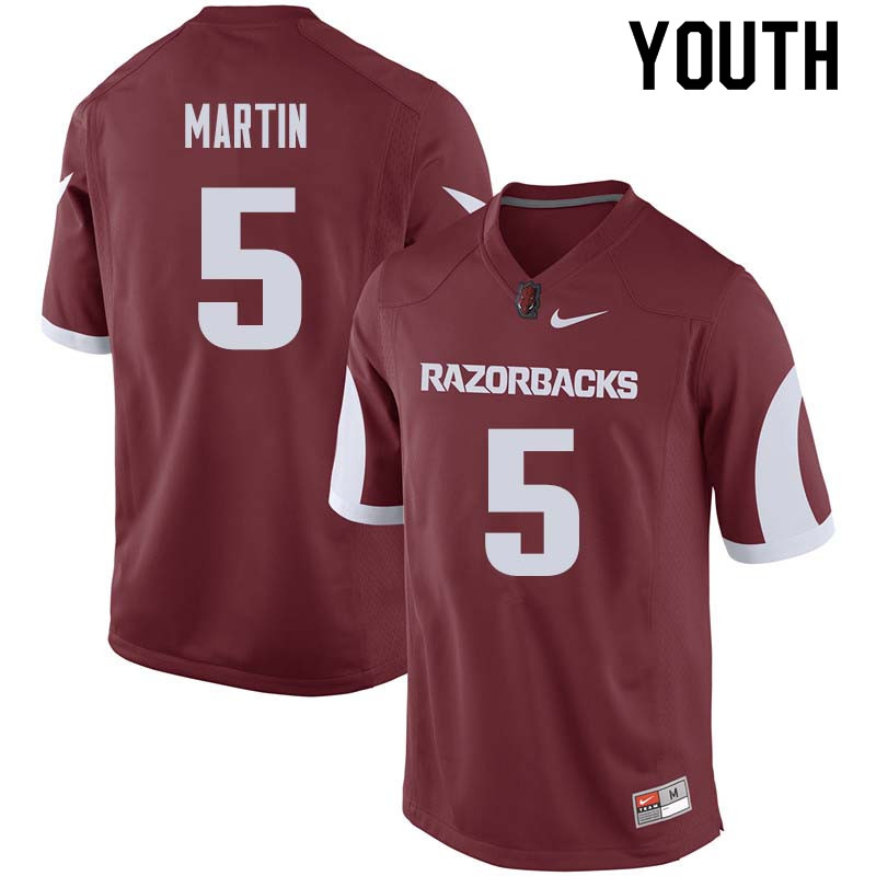 Youth #5 Brandon Martin Arkansas Razorback College Football Jerseys Sale-Cardinal