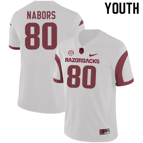 Youth #80 Brett Nabors Arkansas Razorbacks College Football Jerseys Sale-White