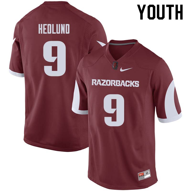 Youth #9 Cole Hedlund Arkansas Razorback College Football Jerseys Sale-Cardinal