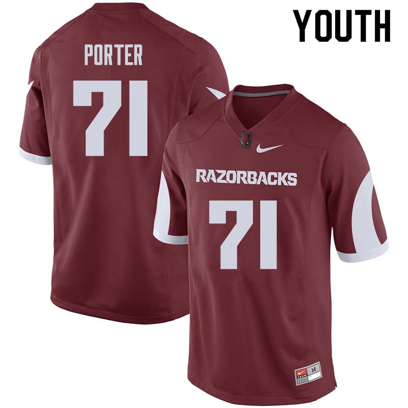 Youth #71 David Porter Arkansas Razorback College Football Jerseys Sale-Cardinal