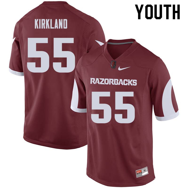 Youth #55 Denver Kirkland Arkansas Razorback College Football Jerseys Sale-Cardinal
