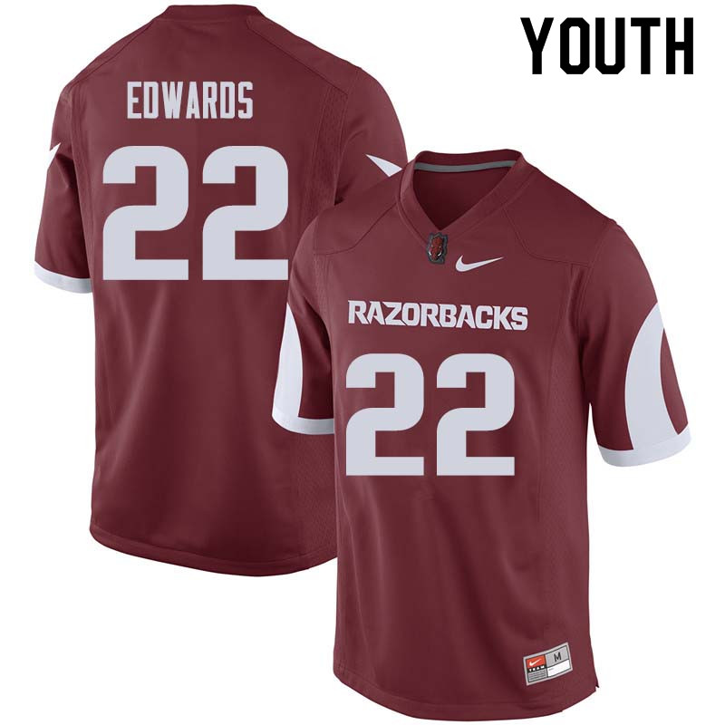 Youth #22 Deon Edwards Arkansas Razorback College Football Jerseys Sale-Cardinal