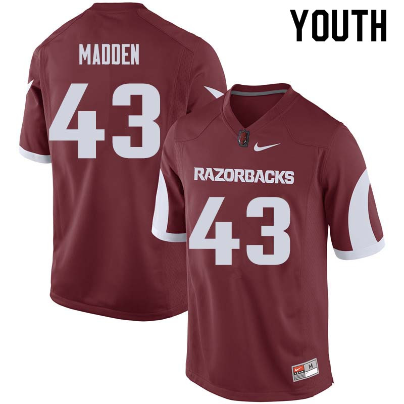 Youth #43 George Madden Arkansas Razorback College Football Jerseys Sale-Cardinal