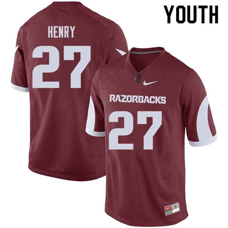 Youth #27 Hayden Henry Arkansas Razorback College Football Jerseys Sale-Cardinal