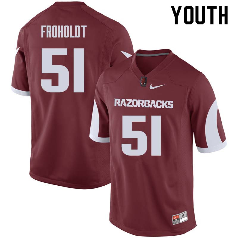 Youth #51 Hjalte Froholdt Arkansas Razorback College Football Jerseys Sale-Cardinal