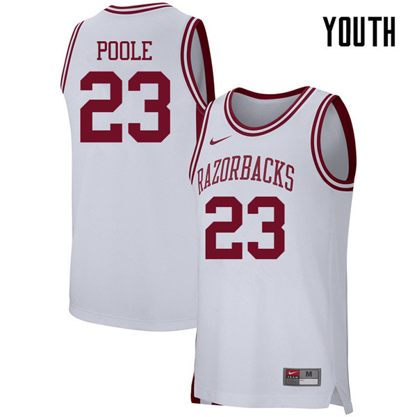 Youth #23 Ike Poole Arkansas Razorbacks College Basketball 39:39Jerseys Sale-White