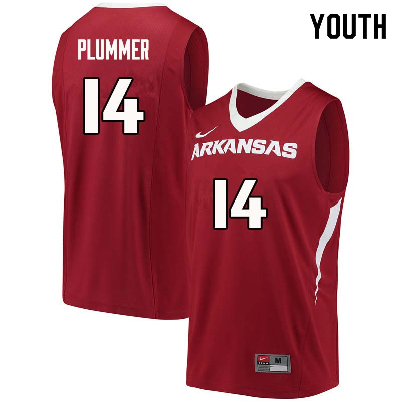 Youth#14 JT Plummer Arkansas Razorback College Basketball Jerseys Sale-Cardinal