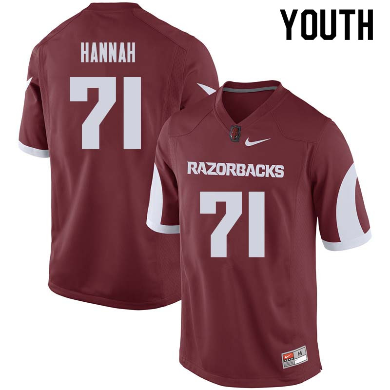 Youth #71 Jackson Hannah Arkansas Razorback College Football Jerseys Sale-Cardinal