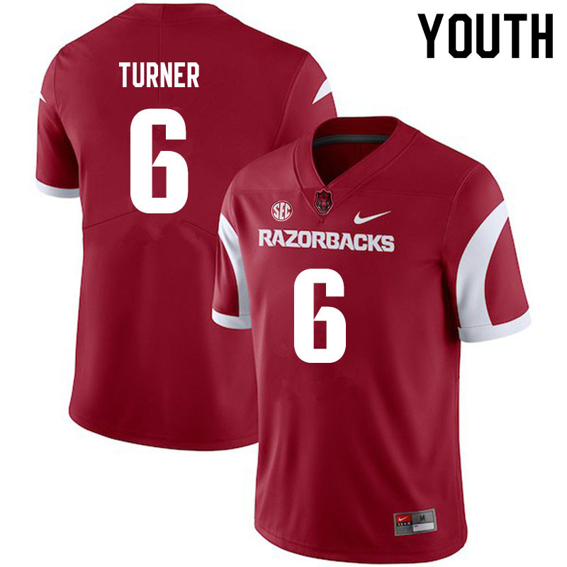 Youth #6 Jacorrei Turner Arkansas Razorbacks College Football Jerseys Sale-Cardinal