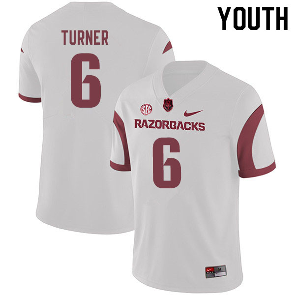 Youth #6 Jacorrei Turner Arkansas Razorbacks College Football Jerseys Sale-White