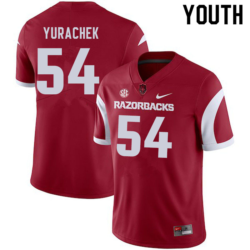Youth #54 Jake Yurachek Arkansas Razorbacks College Football Jerseys Sale-Cardinal