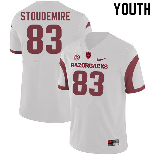 Youth #83 Jimmie Stoudemire Arkansas Razorbacks College Football Jerseys Sale-White