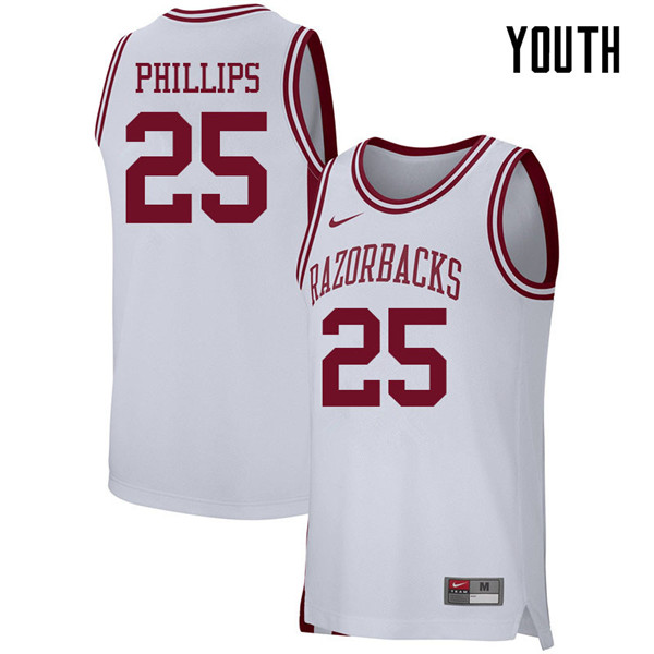 Youth #25 Jordan Phillips Arkansas Razorbacks College Basketball 39:39Jerseys Sale-White