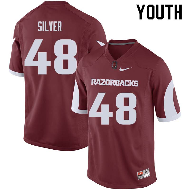 Youth #48 Jordan Silver Arkansas Razorback College Football Jerseys Sale-Cardinal