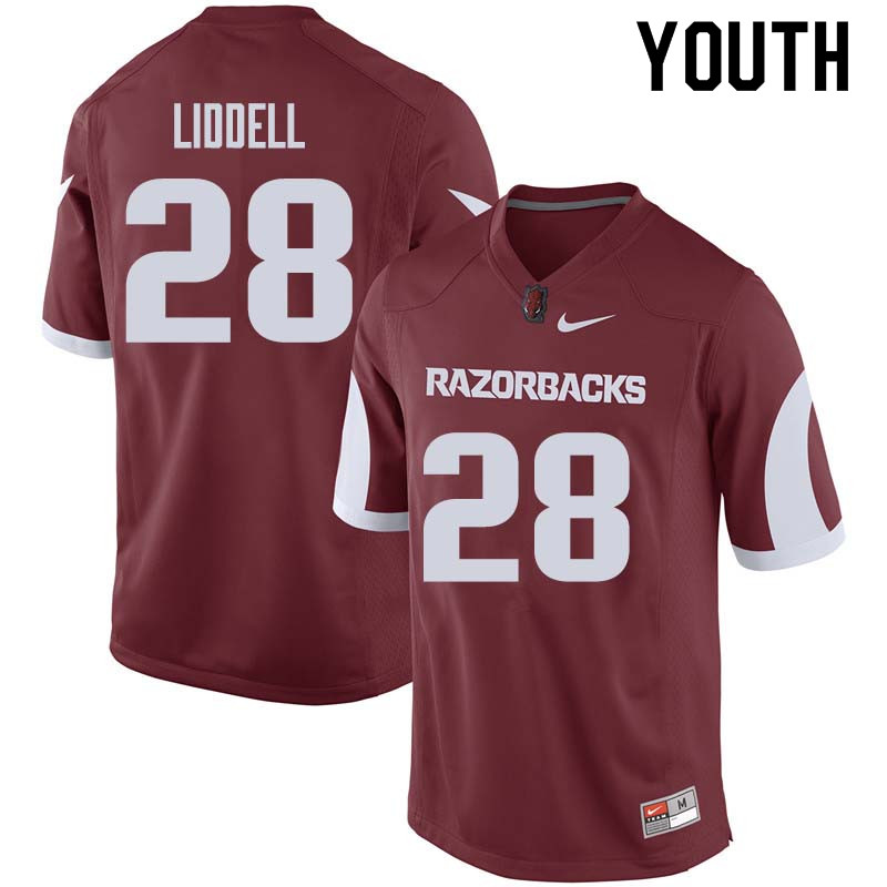 Youth #28 Josh Liddell Arkansas Razorback College Football Jerseys Sale-Cardinal