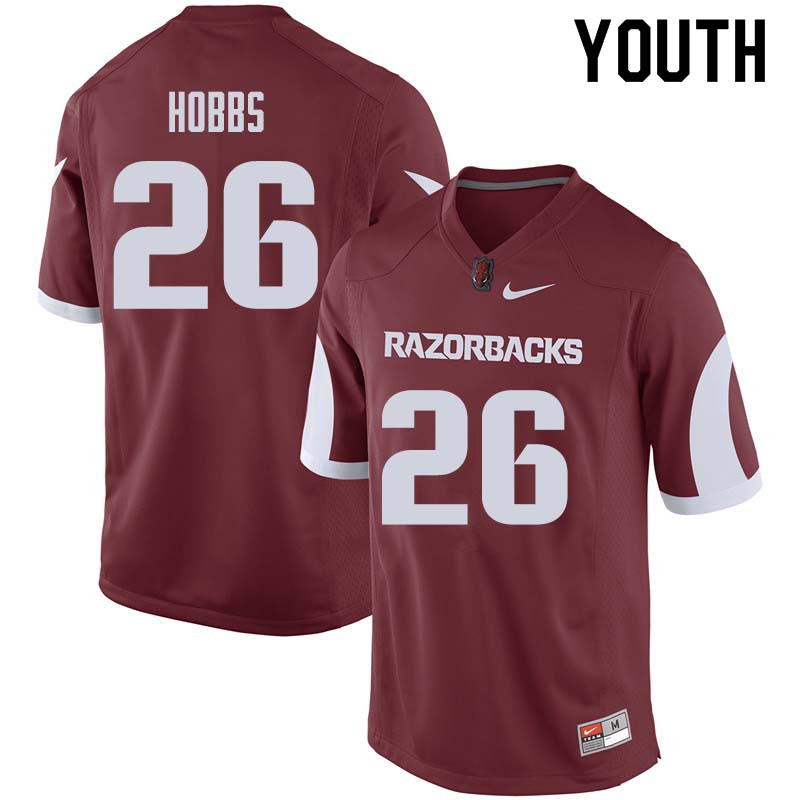 Youth #26 Justice Hobbs Arkansas Razorback College Football Jerseys Sale-Cardinal