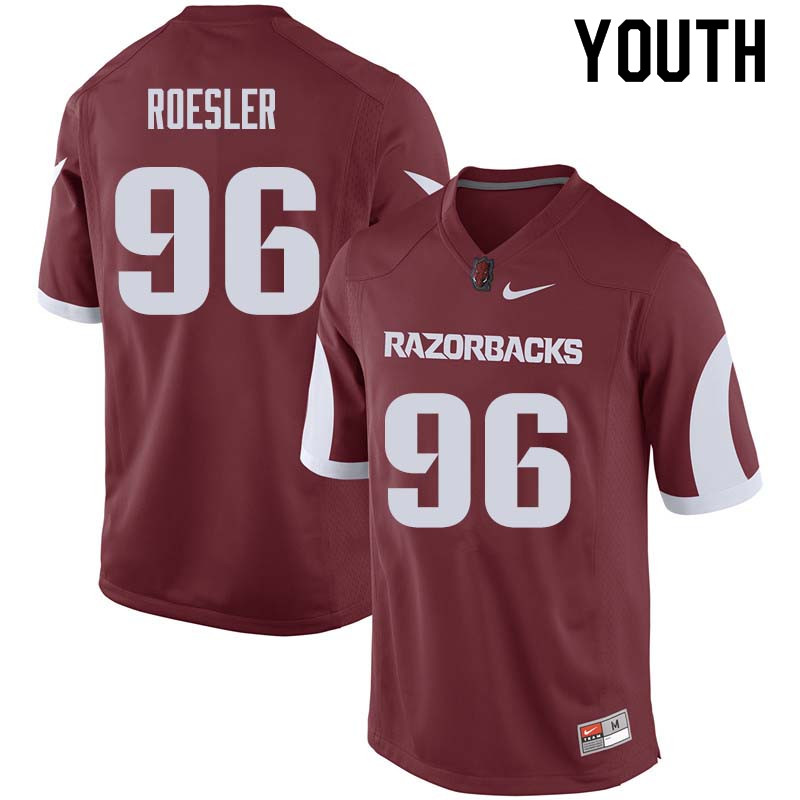 Youth #96 Karl Roesler Arkansas Razorback College Football Jerseys Sale-Cardinal