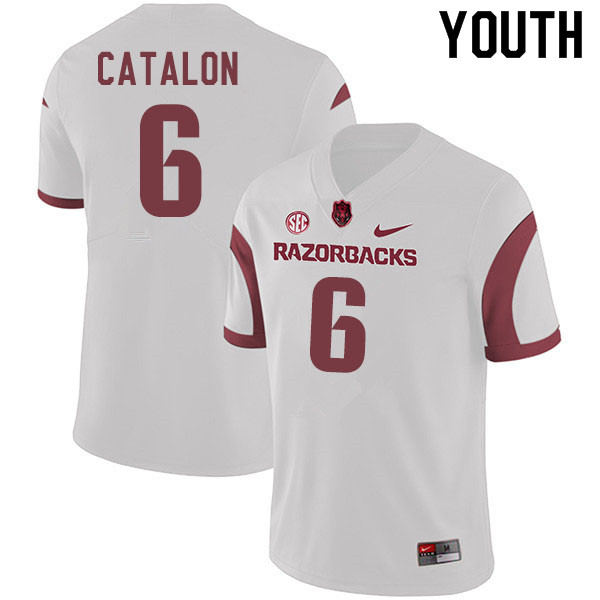 Youth #6 Kendall Catalon Arkansas Razorbacks College Football Jerseys Sale-White