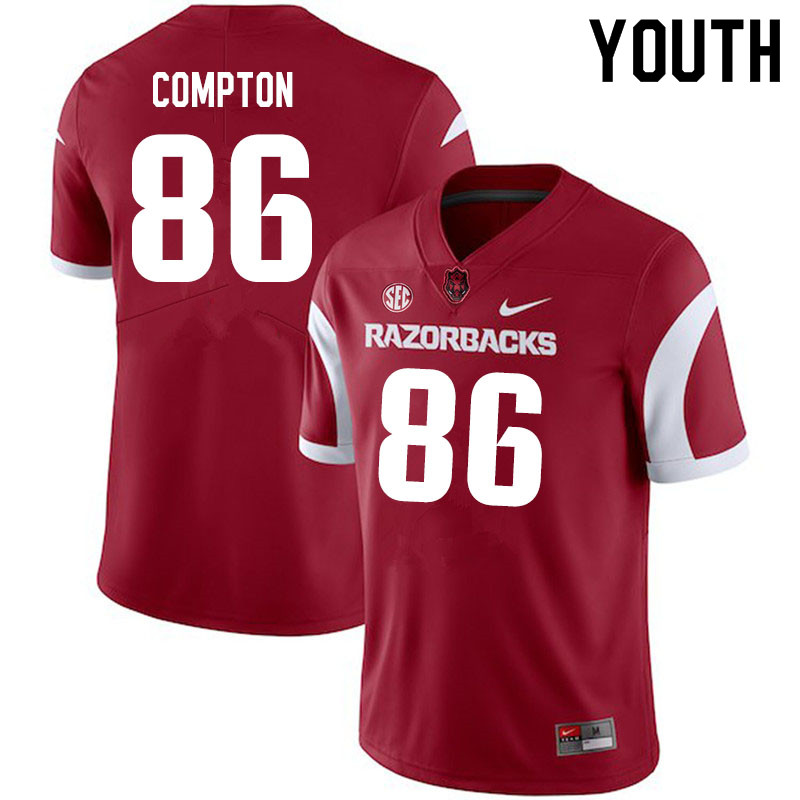 Youth #86 Kevin Compton Arkansas Razorbacks College Football Jerseys Sale-Cardinal