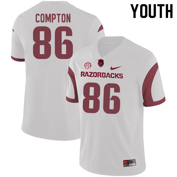 Youth #86 Kevin Compton Arkansas Razorbacks College Football Jerseys Sale-White