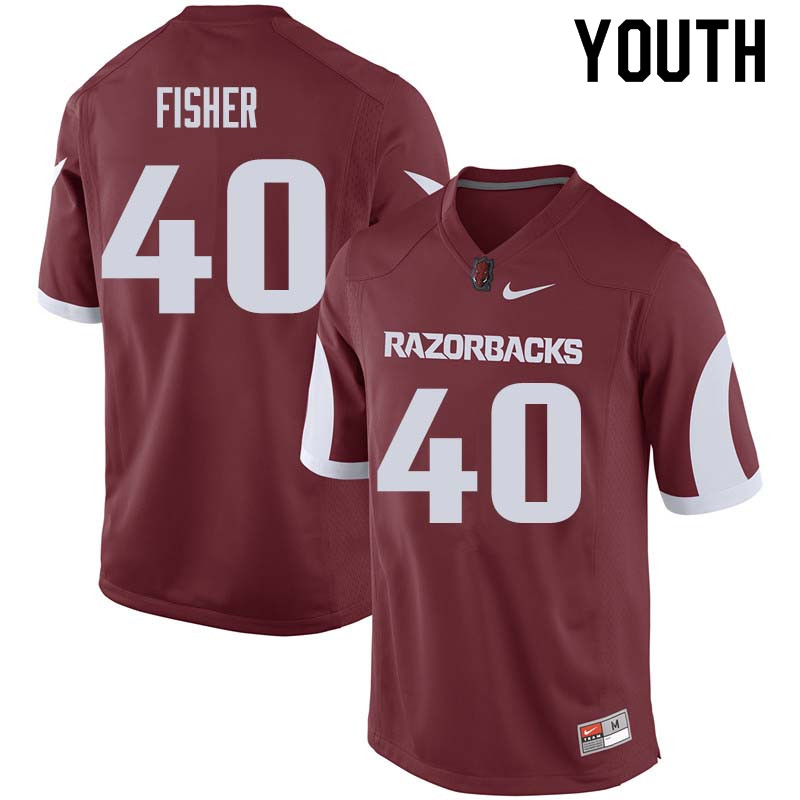 Youth #40 Kyrei Fisher Arkansas Razorback College Football Jerseys Sale-Cardinal