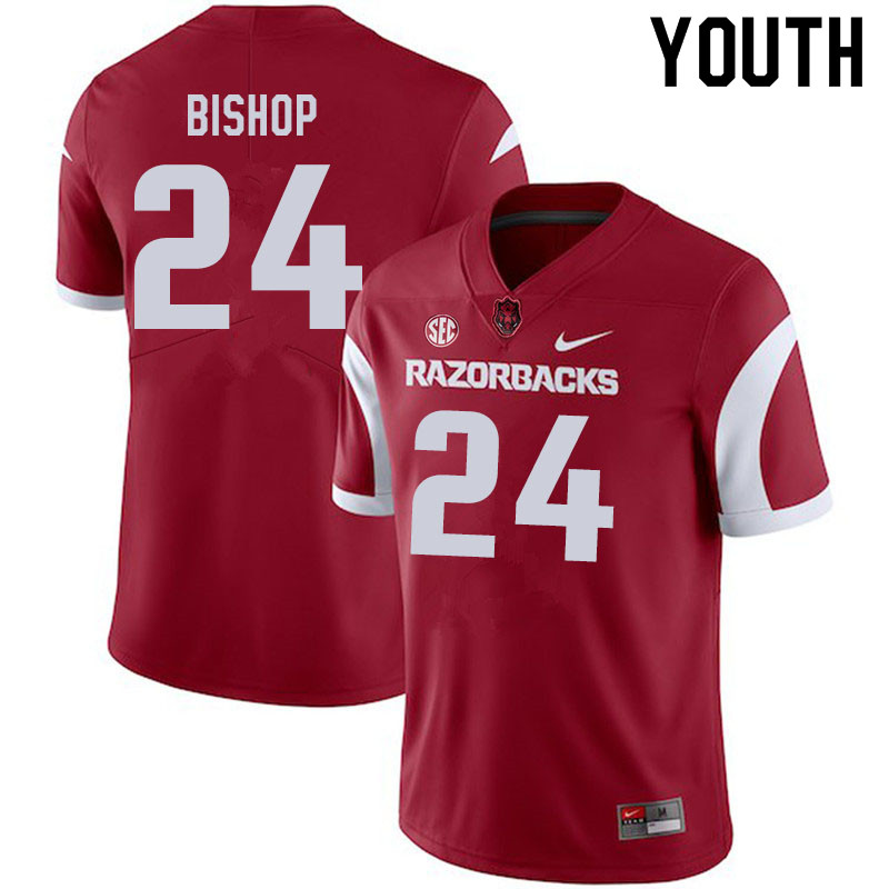 Youth #24 LaDarrius Bishop Arkansas Razorbacks College Football Jerseys Sale-Cardinal