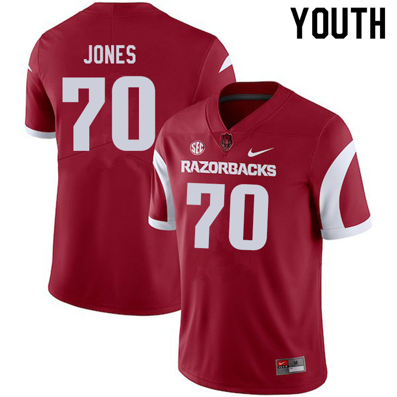 Youth #70 Luke Jones Arkansas Razorbacks College Football Jerseys Sale-Cardinal
