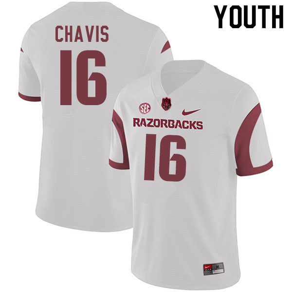 Youth #16 Malik Chavis Arkansas Razorbacks College Football Jerseys Sale-White