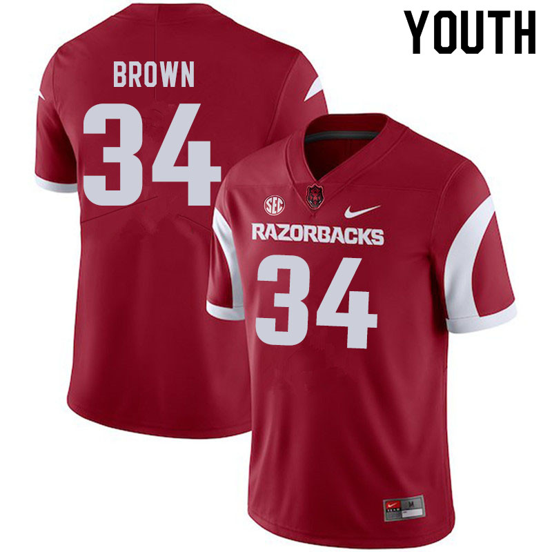 Youth #34 Martaveous Brown Arkansas Razorbacks College Football Jerseys Sale-Cardinal