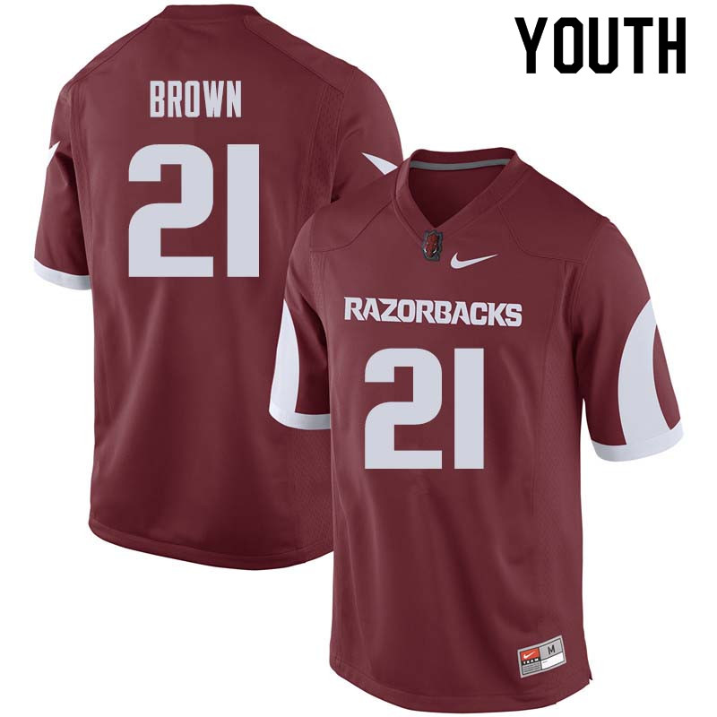 Youth #21 Montaric Brown Arkansas Razorback College Football Jerseys Sale-Cardinal