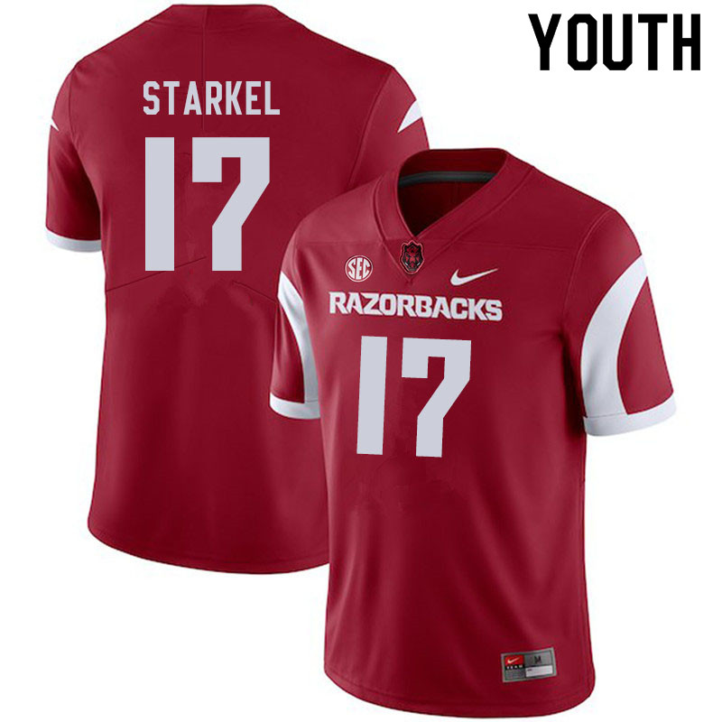 Youth #17 Nick Starkel Arkansas Razorbacks College Football Jerseys Sale-Cardinal