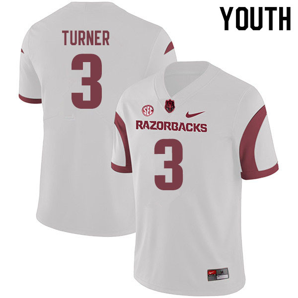Youth #3 Nick Turner Arkansas Razorbacks College Football Jerseys Sale-White