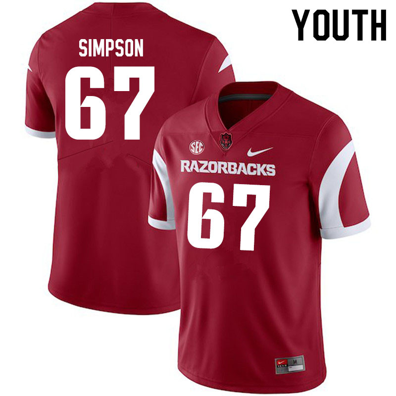Youth #67 Payton Simpson Arkansas Razorbacks College Football Jerseys Sale-Cardinal