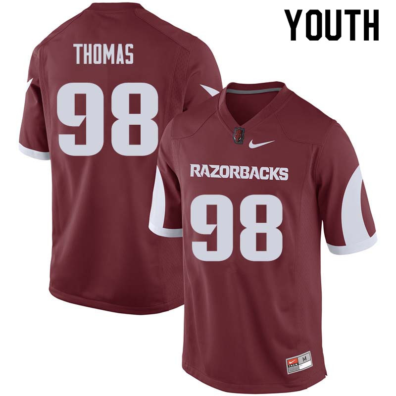 Youth #98 Robert Thomas Arkansas Razorback College Football Jerseys Sale-Cardinal
