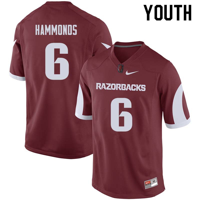 Youth #6 T.J. Hammonds Arkansas Razorback College Football Jerseys Sale-Cardinal