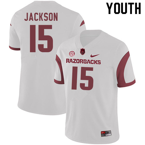 Youth #15 T.Q. Jackson Arkansas Razorbacks College Football Jerseys Sale-White