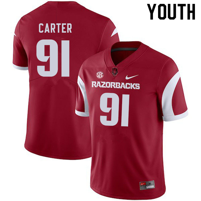 Youth #91 Taurean Carter Arkansas Razorbacks College Football Jerseys Sale-Cardinal