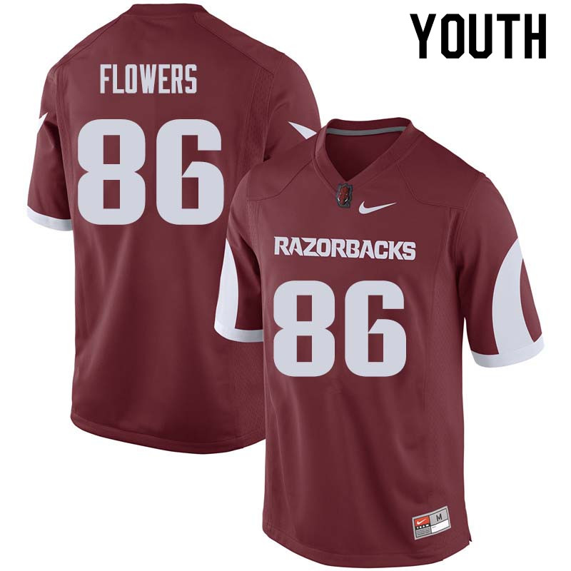 Youth #86 Trey Flowers Arkansas Razorback College Football Jerseys Sale-Cardinal