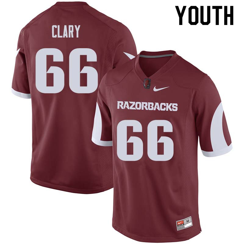 Youth #66 Ty Clary Arkansas Razorback College Football Jerseys Sale-Cardinal