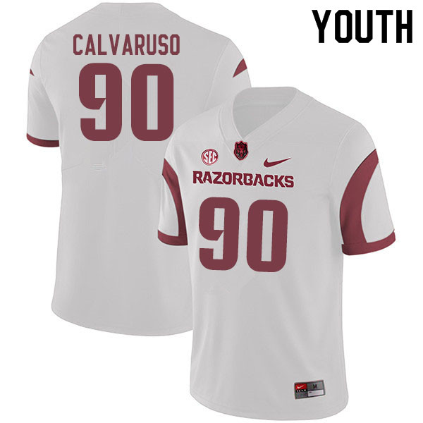 Youth #90 Vito Calvaruso Arkansas Razorbacks College Football Jerseys Sale-White